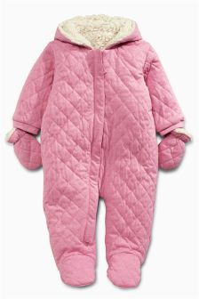 Pink Quilted All-In-One (0mths-2yrs)