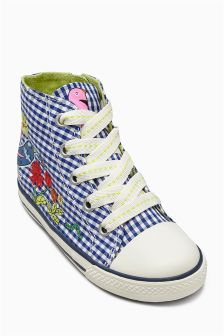 Navy Gingham High Top Boots (Younger Girls)