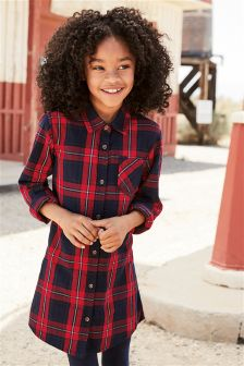 Red Check Shirt Dress (3-16yrs)