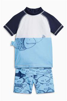 Blue Fish Print Two Piece Set (3mths-6yrs)