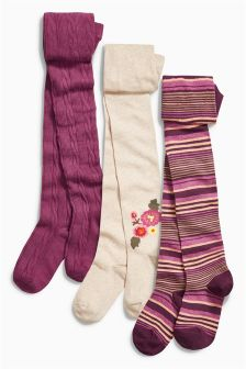 Berry Floral Tights Three Pack (3-16yrs)