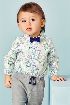 Multi Floral Shirtbody With Bow Tie (0mths-2yrs)