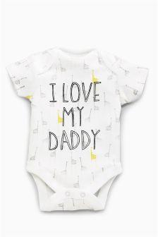White/Lemon I Love Daddy Short Sleeve Bodysuit (0-18mths)
