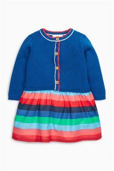 Cobalt Knitted Woven Mix Dress (0mths-2yrs)