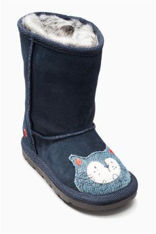 Navy Cat Pull On Boots (Younger Girls)