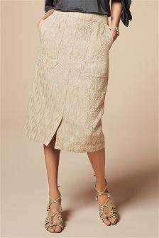 Neutral Jacquard Midi Skirt