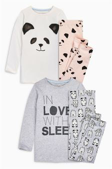 Grey & Pink In Love With Sleep Pyjamas Two Pack (3-16yrs)