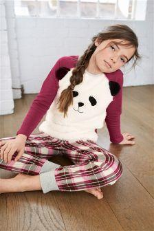 Burgundy Woven Check Panda Pyjamas (3-16yrs)