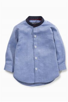 Blue Spot Grandad Shirt (3mths-6yrs)