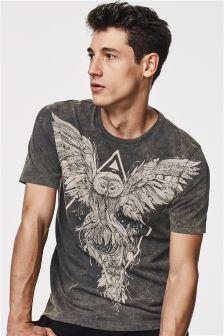 Black Graphic Acid Wash T-Shirt