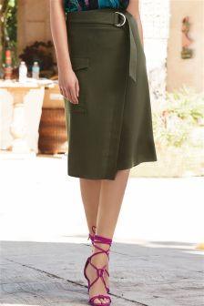 Khaki Utility Wrap Skirt