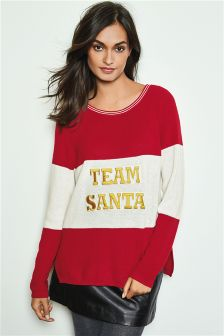 Red/White Novelty Team Santa Christmas Jumper