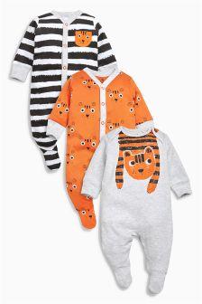 Orange/Grey Tiger Sleepsuits Three Pack (0mths-2yrs)
