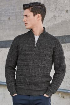 Textured Zip Neck