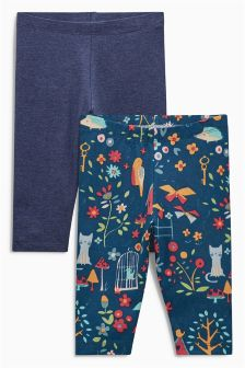 Navy Printed Leggings Two Pack (0mths-2yrs)