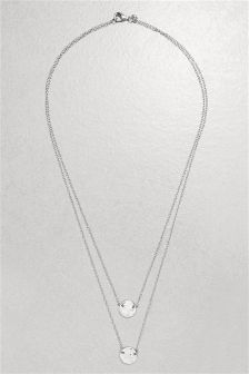 Sterling Silver Two Row Hammered Disc Necklace