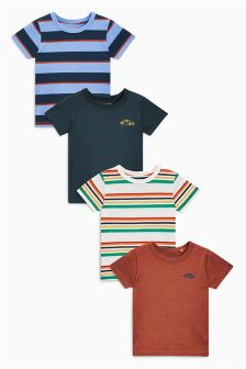 Multi Stripe Short Sleeve T-Shirts Four Pack (3mths-6yrs)