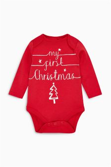 Red My First Christmas Long Sleeve Bodysuit (0-12mths)