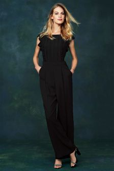 Black Pleated Front Jumpsuit