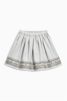 Grey Embroidered Full Skirt (3mths-6yrs)