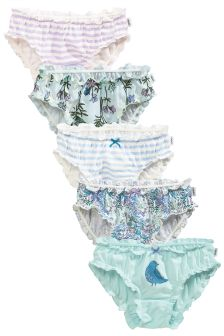 Blue Floral Frill Briefs Five Pack (1.5-16yrs)