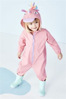 Pale Pink Unicorn Puddlesuit (3mths-6yrs)