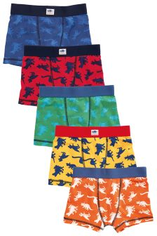Multicoloured Dino Trunks Five Pack (2-16yrs)