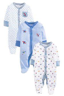 Blue/White Aeroplane Sleepsuits Three Pack (0mths-2yrs)