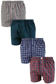 Multi Check Woven Boxers Four Pack