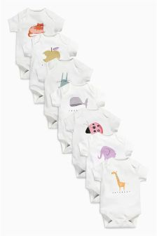 White Days Of The Week Short Sleeve Bodysuits Seven Pack (0mths-2yrs)