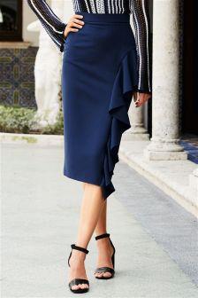 Blue Ruffle Front Skirt