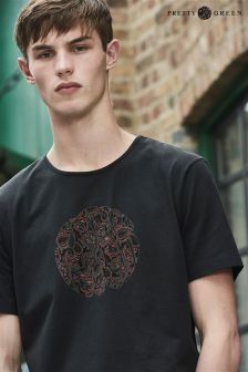 Pretty Green Black Turner Paisley Logo T-Shirt