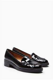 Black Fringed Loafers