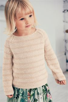 Pink Stripe Metallic Jumper (3mths-6yrs)