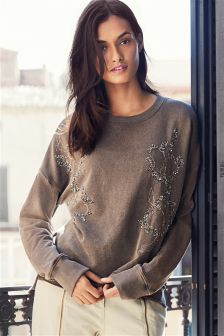 Mink Embroidered Floral Sweater