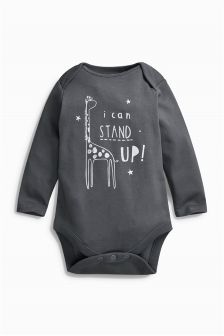 Monochrome Long Sleeve Stand Up Bodysuit (6-18mths)