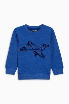 Blue Textured Plane Print Crew (3mths-6yrs)