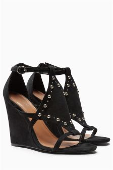 Black Stud Detail Wedges