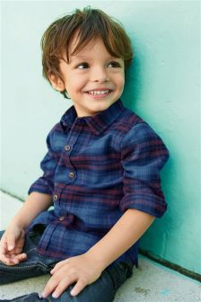 Indigo Long Sleeve Check Shirt (3mths-6yrs)