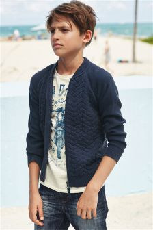 Navy Quilted Bomber Jacket (3-16yrs)
