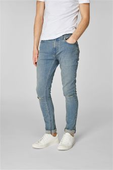 Chalk Wash Ripped Knee Jeans With Stretch