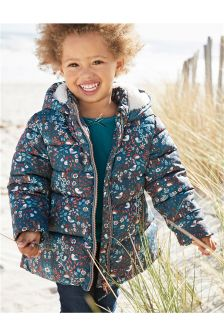 Blue Floral Padded Jacket (3mths-6yrs)