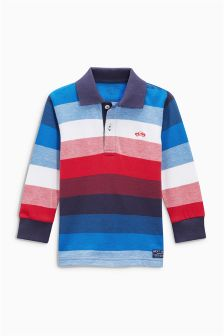 Multi Long Sleeve Striped Poloshirt (3mths-6yrs)
