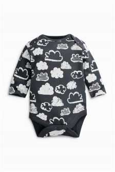 Charcoal Long Sleeve All Over Print Cloud Bodysuit (0-18mths)