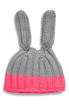 Pink/Grey Bunny Knit Hat (0mths-2yrs)