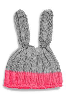 Pink/Grey Bunny Knit Hat (0mths-2yrs)