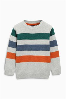 Grey Three Colour Stripe Crew Neck Jumper (3-16yrs)