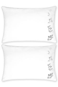 Set Of 2 Embroidered Ombre Leaf Housewife Pillowcases