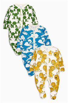 Yellow/Blue Bright Animal Sleepsuits Three Pack (0mths-2yrs)