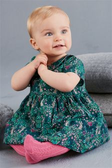 Teal Printed Prom Dress (0mths-2yrs)